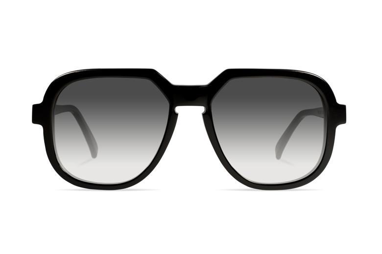 Urican 78BK, Black Acetate Oversized Sunglasses