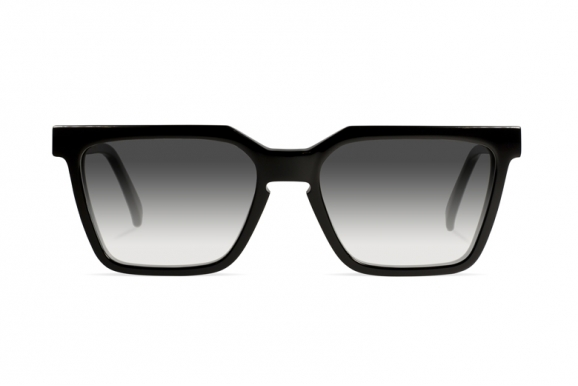 Urican 85BK, Black Acetate Rectangular Sunglasses