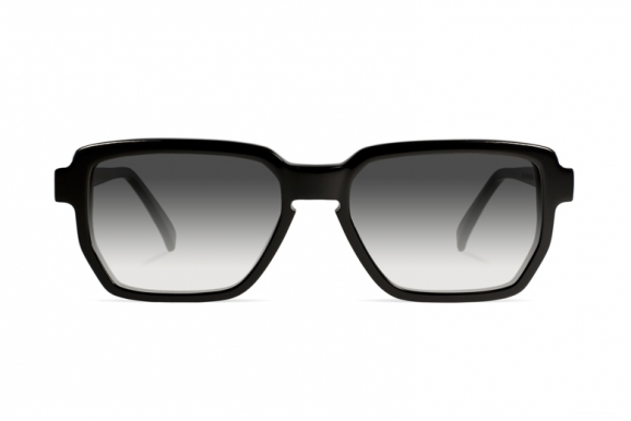 Urican 88BK, Black Acetate Hexagonal Sunglasses