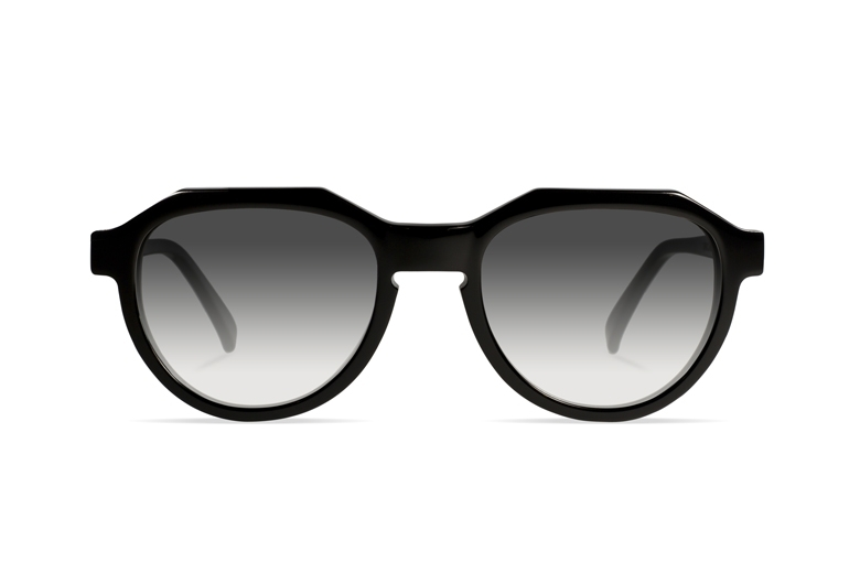 Urican 90BK, Black Acetate Pantoscopic Sunglasses