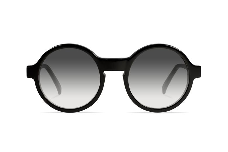 Urican 92BK, Black Acetate Round Sunglasses