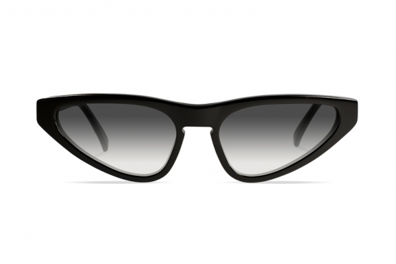 Urican 94BK, Black Acetate Butterfly Sunglasses